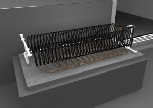 Detail of possible configuration of the internal heat exchanger inside the Battery.